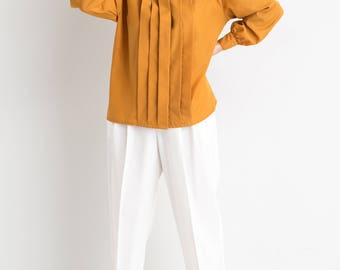 80s Gold Pleated Front Blouse L