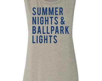 Summer Nights And Ballpark Lights Muscle Tank Women's Baseball Shirt Baseball Season Baseball Mama Muscle Tank Women's Clothing