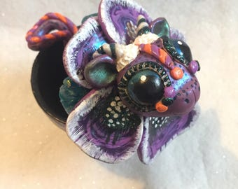 Flower dragon, polymer clay dragon, hand painted terra cotta flower pot, pansy flower