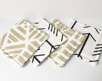 Gold Coasters Arrow Fabric Reversible Coasters Fabric Coasters Cotton Set of 4 Modern Home Decor