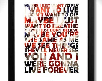 OASIS - Live Forever Limited Edition Unframed Art Print with Lyrics