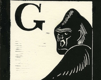 G is for Gorilla linocut