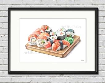 Sushi art print, Kitchen poster of my original watercolor painting