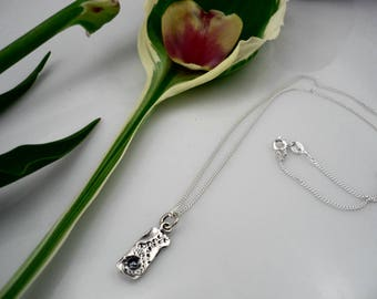 Silver rectangle necklace,small silver pendant,hammered pendant,silver chain,delicate pendant,minimalist pendant,textured pendant,sea urchin