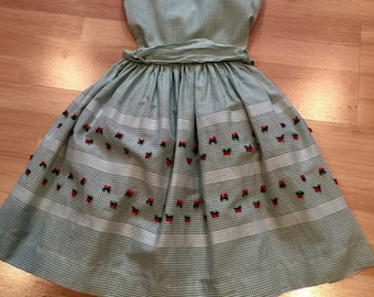 Vintage Green and White Check Dress Size 7