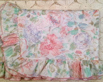 Vintage Duvet Cover - St Michael UK - Full Size - Pink with Ruffle - Romantic Cottage Chic - Pastel Colors   Blanket Cover