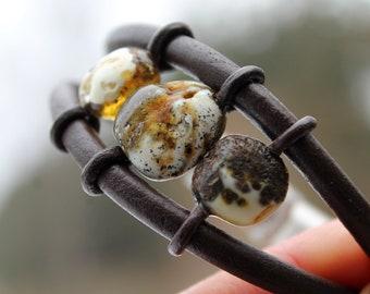 Men Stone Bracelet Amber & Leather Bracelet Orange White Butterscotch Healing Jewelry Zen Jewelry Free People Style