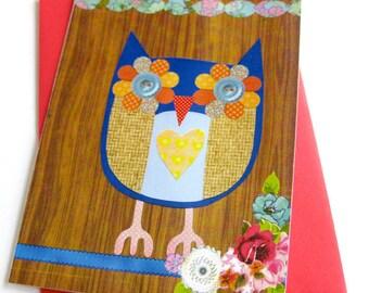 Owl Collage Card & Stationery // Blue on Woodgrain