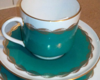 "REDUCED 50% - Emerald Green Teacup Set - Aynsley - ""Melody"""