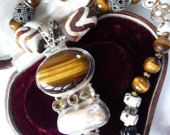 Ethnic tribal art inspired pendant necklace | tiger eye blister pearl citrine | sterling silver | artisan handmade | Asian Indian pendant