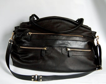 SALE - Travel bag in black leather