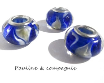 3 blue and yellow lampwork glass beads