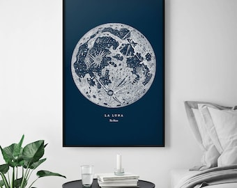 Moon Poster, Moon Print, Full Moon Print, Full Moon Poster, La Luna, La Lune, Moon Wall Art, Large Moon Poster