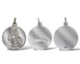Sterling Silver 27mm Round St Christoper Pendant Travel Free Engraving