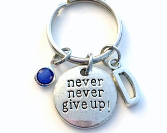 Motivational Keychain, Never Give up Key chain, Silver Crossfit Keyring, Personalized Gift for Survivor, Hope Encouragement Love, get better