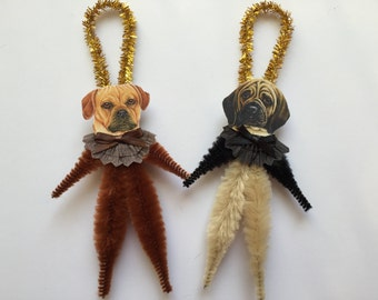 PUGGLE ornaments dog ORNAMENTS vintage style chenille ornaments set of 2