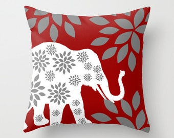 Elephant Throw Pillow Cover Crimson Grey White Decor Elephant Decor Elephant Pillow Home Decor Accent Pillow Cover Cushion Cover