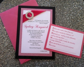 Pink and Black Bat Mitzvah Invitation, Sweet 16, Glitter,