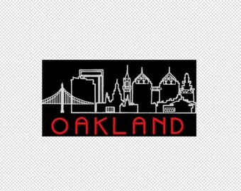 Oakland- City Skyline - California - Embroidery Design File - multiple formats - 3 sizes- instant download
