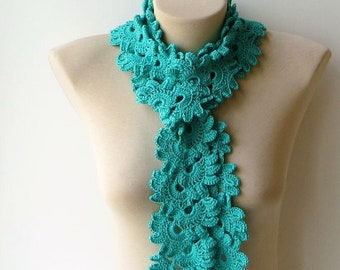 Mint scarf, Scarfs, Knitted scarf, Green knit scarf, Lace crochet scarf, Green scarf, Lightweight scarf, Soft scarf, Hand knit scarf.