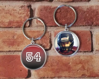 SALE! Double-Sided Keychain - Football with Photo Key Chain - Personalized Key Chain-  - Cyber Monday