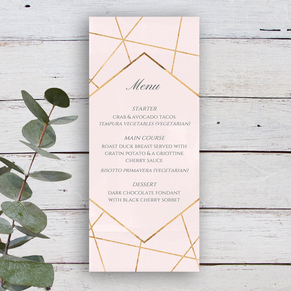 Facets Printable Menu Template, Pale Pink with Gold Geometrics