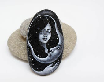 Unique moon lover gift: handpainted stone as table decor or paperweight. Romantic painting of crescent moon, girl and starry night sky!