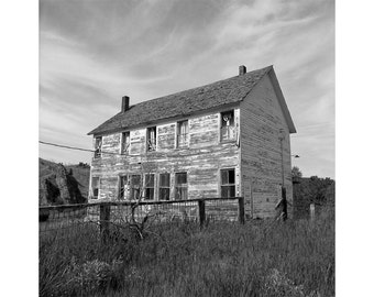 Abandoned Schoolhouse Black and White Photograph, Fine Art Photography, Rustic Photograph, Ghost Town Photograph - Maudlow, Montana
