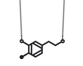 Small Dopamine Molecule Necklace - Black