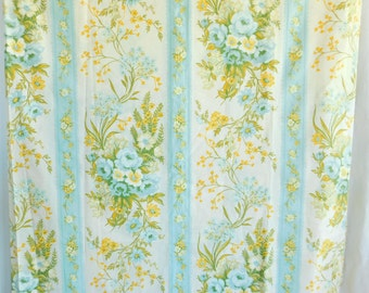 Vintage Twin Single Flat Sheet - St. Marys of New York - 50/50 Cotton Polyester No Iron Percale - Floral Flowers - Yellow Blue Green