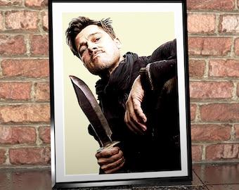 Brad Pitt - Inglorious basterds - Digital Painting - Digital Illustration - Brad Pitt Art - FIlm Art - Movie Art - Poster - Wall Art - Print