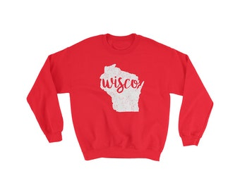 Wisconsin Sweatshirt // Badgers // UW Madison // Bucky Badger // Gift For Him // Gift For Her // The Busy Bee