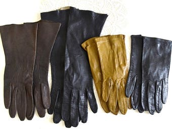vintage lot of small leather gloves dress up gloves fancy leather gloves