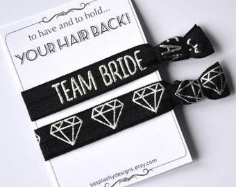 Custom Hair Tie Bachelorette Party Favor. Bachelorette favor, Bridal shower, bachelorette hair tie, bridesmaid gift, black, silver
