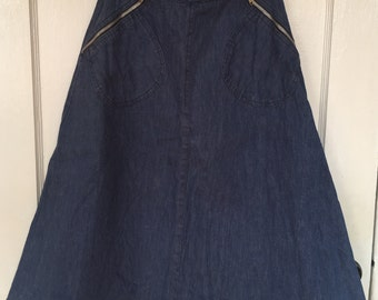 Vintage 70s skirt  Denim Skirt Chaus A-line small