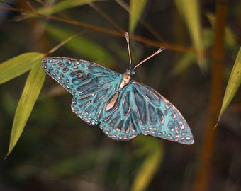 Monarch Butterfly garden stake sculpture in copper with blue green patina