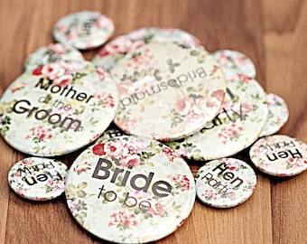 Vintage Hen Party Badges (50mm)