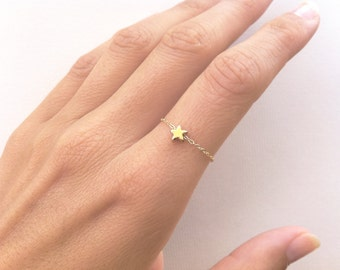 Star Ring Stackable Dainty Ring with a Tiny Star