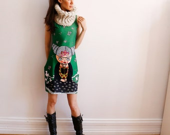 Illustrated Dress - Mexican señorita - Dress  - Green - bodycon dress