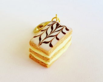 French Pastry Mille feuille Charm or Earrings - Polymer Clay Food Napoleon Charm - Miniature Food Jewelry - French Pastry Napoleon Earrings
