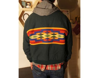 Pendleton High Grade Western Wear Wool Jacket Made in the USA Southwestern Aztec Beaver State Size XL Great Condition