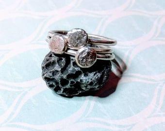 Set of 3, lunar textured stacking rings