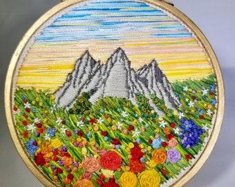 Pastel Mountain landscape