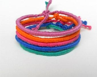 Friendship bracelets Wrap bracelets,Solid color bracelets,Mix and match,Colorful,Cotton bracelets,Soft yarn,Rope,Best friends,Hippie jewelry