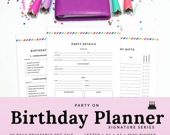Printable Party Planner Kids Birthday Party Planner Birthday Planner PDF Guest List Printable Gift List A5 | PBTH-1000-A, Instant Download