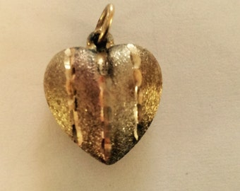 Puffy heart gold filled  charm vintage # 391