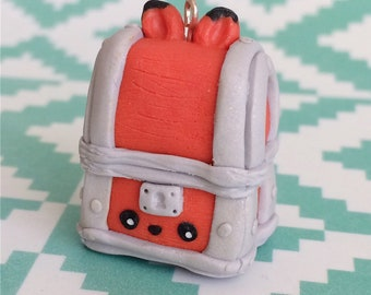 Fox Chest fantasy kawaii charm polymer clay jewelry orange pendant