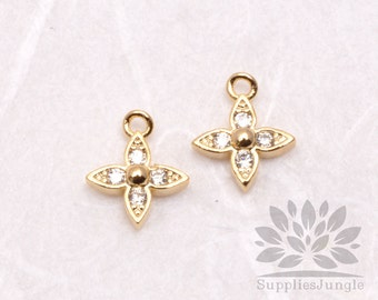 P590-01-G// Gold Plated 7mm Cubic Flower Pendant, 1 pc