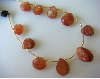 Sunstone - Sunstone Drop Shaped Faceted Briolettes - 15x10mm To 7x7mm - 10 Pieces