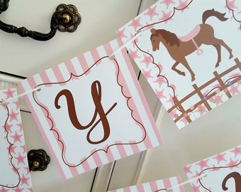 Horse party banner, Horse banner, Equestrian party, Farm Animal Party, Happy Birthday party